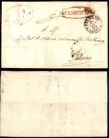 ANTICHI STATI ITALIANI - SICILIA - Canicattì (P.ti 8) - Lettera Per Palermo Del 24.9.59 - Francobollo Asportato - Sellos