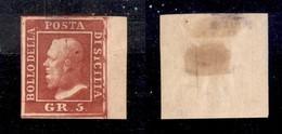 ANTICHI STATI ITALIANI - SICILIA - 1859 - 5 Grana (9c - Rosso Sangue) Bordo Foglio - Senza Gomma - Leggermente Assottigl - Stamps