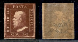 ANTICHI STATI ITALIANI - SICILIA - 1859 - 50 Grana (14b - Lacca Bruno Scuro Violaceo) Nuovo Con Gomma - Diena + Cert. Co - Ohne Zuordnung