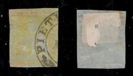 ANTICHI STATI ITALIANI - TOSCANA - 1851 - 1 Soldo (1a - Giallo Limone Su Azzurro) Usato A Pietrasanta - Appena Corto Da  - Stamps