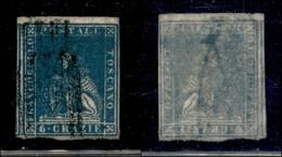 ANTICHI STATI ITALIANI - TOSCANA - 1857 - 6 Crazie (15a - Azzurro Vivo) Usato - Carta Sottile Con Decalco In Trasparenza - Sellos