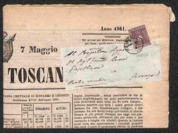 ANTICHI STATI ITALIANI - TOSCANA - 1 Cent (17a - Lilla) Isolato Su Giornale Del 7 Maggio 1861 - Caffaz + Colla (7.875) - Ohne Zuordnung