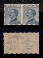 REGNO - 1908 - 25 Cent Michetti (83l) - Coppia Orizzontale Non Dentellata Al Centro - Gomma Integra - Cert. AG (1.950) - Sellos