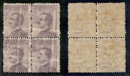 REGNO - 1908 - 50 Cent Michetti (85q) In Quartina - Decalco Ruotato Al Recto - Gomma Integra - Piega D'angolo In Basso A - Sellos