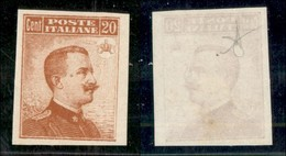 REGNO - 1916 - Prove D'Archivio - 20 Cent Michetti (P107) - Gomma Originale (400) - Sellos