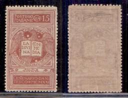 REGNO - 1921 - 15 Cent Dante Alighieri (116B) - Colore Diverso - Dentellatura Carente Sulla Destra - Gomma Integra - Cer - Sellos
