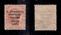REGNO - 1922 - 10 Cent Congresso Filatelico (123) - Gomma Integra - Oliva + Fiecchi + Cert. AG (1.500) - Sellos