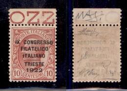 REGNO - 1922 - 10 Cent Congresso Filatelico (123) - Ottimamente Centrato - Gomma Integra - Oliva + Fiecchi + Raybaudi (4 - Sellos