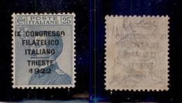REGNO - 1922 - 25 Cent Congresso Filatelico (125) - Gomma Integra - Molto Ben Centrato - Sellos