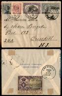 REGNO - Ritaglio Di Cartolina Postale Da 15 Cent Su Busta Da Villavernia A New York Con Affrancatura Complementare (185  - Sellos