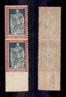 REGNO - 1928 - 25 Cent Filiberto (227o) - Coppia Verticale Bordo Foglio Non Dentellata Al Centro E In Basso - Gomma Inte - Sellos