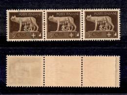 REGNO - 1929 - 5 Cent Imperiale (243e) - Striscia Di Tre Su Carta Ricongiunta - Gomma Integra (3.300) - Sellos
