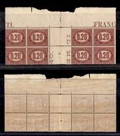 REGNO - Servizio - 1875 - 20 Cent (3) - Blocco Angolare Di 8 Bordo Foglio In Alto Con Interspazio Al Centro - Gomma Inte - Sellos
