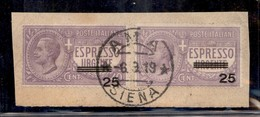 REGNO - Espressi - 1908 - Due 25 Su 40 Cent (3) Su Frammento - Ama 6.8.19 - Sellos