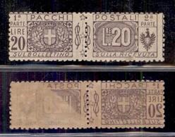 REGNO - Pacchi Postali - 1922 - 20 Lire Nodi Sabaudi (19k - Pacchi Postali) Con Parziale Decalco - Gomma Integra (1000) - Sellos
