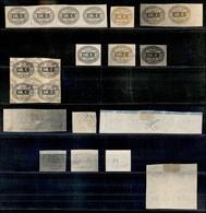 REGNO - Segnatasse - 1863 - Prove Di Stampa - 10 Cent (tipo 1) - Quattro Singoli + Una Coppia + Striscia Di 4 + Quartina - Sellos