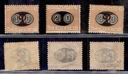 REGNO - Segnatasse - 1890/1891 - Mascherine (17/19)  Serie Completa - Gomma Originale - Cert. Diena (1.600) - Sellos