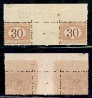 REGNO - Segnatasse - 1890 - 30 Cent (23) - Coppia Orizzontale Bordo Foglio Con Interspazio Al Centro (con Foro Di Regist - Sellos