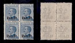 REGNO - B.L.P - 1922 - 25 Cent (8) In Quartina - Gomma Integra - Diena - Sellos