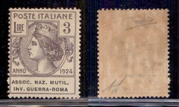 REGNO - Enti Parastatali - 1924 - 3 Lire Invalidi Di Guerra (11 - Parastatali) - Gomma Integra Con Leggera Piega La Retr - Sellos