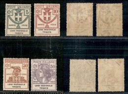 REGNO - Enti Parastatali - 1924 - Enti Parastatali - Lega Nazionale (42/45) - Serie Completa Ottimamente Centrata - Gomm - Sellos