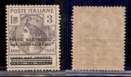 REGNO - Enti Parastatali - 1924 - 3 Lire Soprastampato Invalidi Di Guerra (76 - Parastatali) - Gomma Originale - Cert Di - Sellos