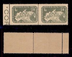 LUOGOTENENZA - COR.AL.IT. - 1945 - 28 Lire Ciclista (9c + 9) - Coppia Bordo Foglio Con Doppia Dentellatura A Sinistra -  - Sellos