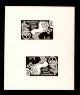 LUOGOTENENZA - S.A.B.E. - 1945 - Prova Tete Beche In Nero Del 10 Lire (14) Su Cartoncino Lucido Non Gommato - Raro Insie - Sellos