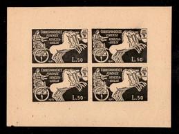 LUOGOTENENZA - S.A.B.E. - 1945 - Foglietto Di Prova In Nero Del 50 Lire (15) Su Carta - Non Gommato - Raro Insieme - Cer - Sellos