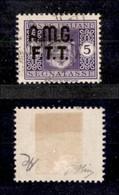TRIESTE - TRIESTE AMG FTT - 1947 - 5 Lire (4Aaa Senza Filigrana) Usato - Soprastampa Spostata - Oliva + Cert. AG (1.400) - Sin Clasificación