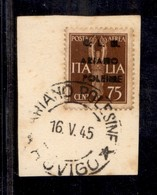 C.L.N. - ARIANO POLESINE - 1945 - 75 Cent (Errani 16i + L) Usato Su Frammento - ; Dopo C + Poleine - Raro - Cert. AG - Sellos