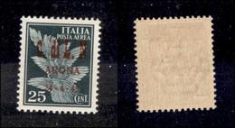 C.L.N. - ARONA - 1945 - 25 Cent (14) - Molto Bello E Raro - Cert. AG (4.500) - Sellos