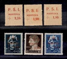 C.L.N. - MANTOVA - 1945 - Soprastampe Recto Verso (1aa/3aa) - Serie Completa - Gomma Integra - Cert. AG (3.300+) - Sellos