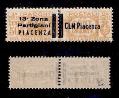 C.L.N. - PIACENZA - 1945 - 50 Cent Pacchi (Errani 31) - Gomma Integra - Cert. AG - Sellos
