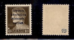 C.L.N. - PIACENZA - 1945 - 10 Cent Imperiale (Errani 40) - Gomma Integra - Raro - Cert. AG - Sellos