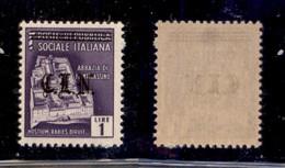 C.L.N. - TORINO - 1945 - 1 Lira (Errani 11A) - Soprastampa Nera - Gomma Integra - Cert. AG - Sellos