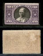 VATICANO - 1934 - 1 Lira Pio XI (28 Varietà) Listato A Lutto - Gomma Originale - Sellos