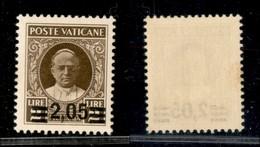 VATICANO - 1934 - 2,05 Lire Su 2 Provvisoria (37) - Gomma Originale (320) - Sellos