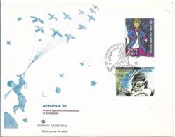 "ARGENTINA 1995 AEROFILA 96 FDC  SAINT EXUPERY AVIATION ""PRINCIPITO"" 2 VALUES ON FIRST DAY COVER - FDC"