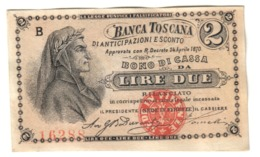 Italy Banca Toscana (Tuscany - Florence) 2 Lire 1870 AUNC / SUP - Italia