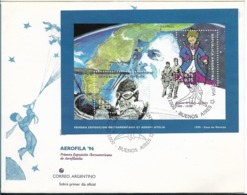 "ARGENTINA 1995 AEROFILA 96 FDC SAINT EXUPERY AVIATION ""PRINCIPITO"" SOUVENIR SHEET ON FIRST DAY COVER - FDC"
