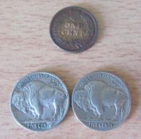 Etats-Unis / USA - Lot De 3 Monnaies : One Cent Indian Head 1905, Five Cents Indian Head 1916 / 1917 - TTB / SUP - Verenigde Staten