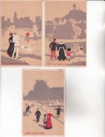 CPA 75 PARIS ,6 Cartes D'illustrateur.( 5 Non écrites ,et Une écrite En 1908.) - France