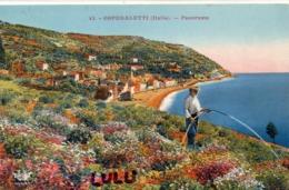 ITALIE : Ospedaletti Panorama ( Homme Qui Arrose Ses Fleurs ) - Autres Villes