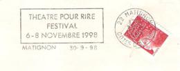 CACHET OBLITERATION FLAMME MATIGNON FESTIVAL THEATRE POUR RIRE 1998  ENVELOPPE 16X11 - Marcophilie (Lettres)