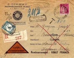 1934 - Env. Recc. Contre-remboursement De Mulhouse-Dornach Affr. 1,75 F Paix Taxe 1 F Des Recouvrements - Marcophilie (Lettres)