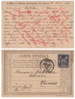 """CARTE TYPE SAGE Avec REPIQUAGE E. PLON EDITEURS À PARIS (""""SEPTEMBRE 1877"""" / PRECURSEUR ENTIER POSTAL) - Biglietto Postale"""