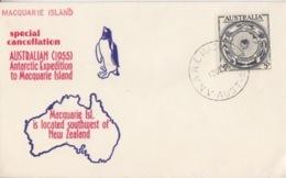 Polaire Australien, N° 214 Obl. Macquarie  Le 13 DE 55 + Tampon Macquarie Island Sur Env. Spéciale Australian 1955 - Lettres & Documents