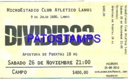 120676 ARGENTINA ARTIST ROCK & ROLL DIVIDIDOS TICKET ENTRADA LANUS 1980 NO POSTAL POSTCARD - Other Collections