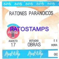 120677 ARGENTINA ARTIST GROUP ROCK & ROLL RATONES PARANOICOS IN STADIUM OBRAS TICKET ENTRADA NO POSTAL POSTCARD - Other